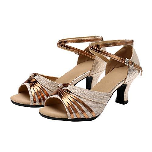 Zapatos de Baile Latino de Tacón Medio para Mujer Zapatillas de Baile de Salón Salsa...