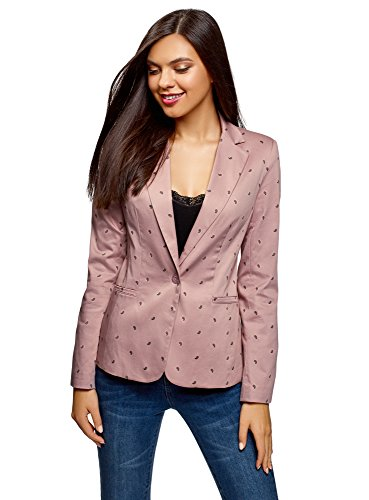 oodji Collection Donna Blazer Basic Aderente Rosa IT 42 / EU 38 / S