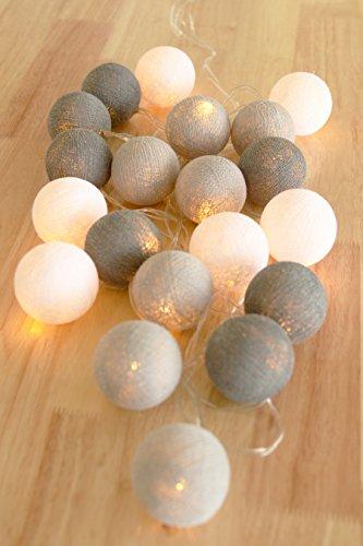 Lichterketten für Schlafzimmer Mädchen 20 Baumwolle Ball Lichterketten LED Batterie betrieben Hochzeit und Party Dekor warmweißes Licht (Winter grau) Winter-hochzeits-dekor