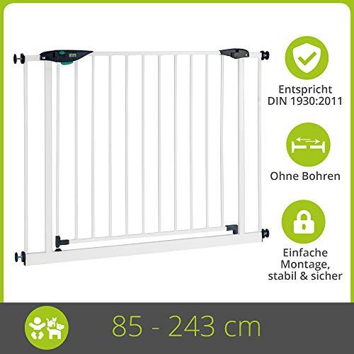 BOMI Schutzgitter XXL Tür 85-243 | Zum Klemmen | 90° Stop | Schließt automatisch | Türschutzgitter schmal weiß Metall Selbstschließend | Treppenschutzgitter Türgitter Klemmgitter