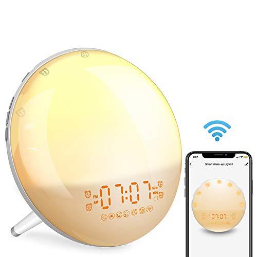 Wake Up Light Despertador Luz Inteligente - 2019 Upgrade Smart Despertadores Wifi Control de Alexa Echo y Google Home,Simulación de Amanecer y Anochecer, 7 Luces de Colores/4 Alarmas/Radio FM