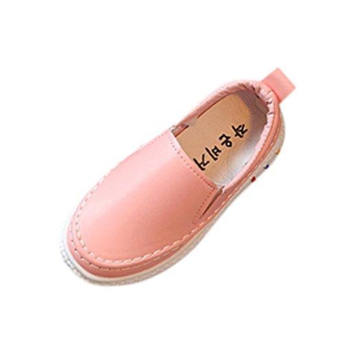 Mode Freizeitschuhe Kleinkind Kinder, DoraMe Jungen Mädchen Skate Schuhe PU Solide Sportschuhe Unisex Loafers Schuhe Sneaker für 3-8.5 Jahr (8-8.5 Jahr/Size(CN):36, Rosa)