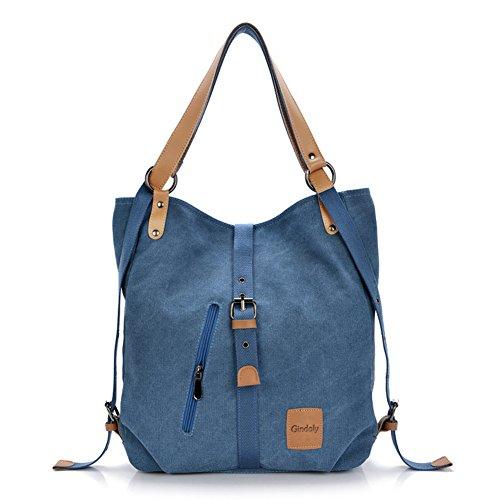 Gindoly Stilvolle Damen Canvas Handtasche Rucksack Umhängetasche 3 in 1 Große Multifunktionale Tasche für Arbeit Schule Reise (Blau)