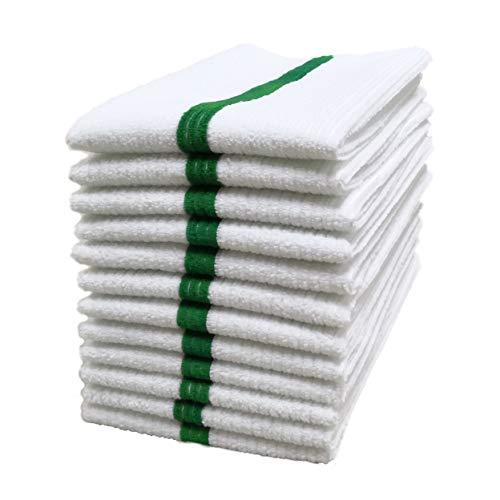 Polyte Mikrofaser-Allzweck gewelltes Terry Bar Mop Tuch für Haus, Küche, Restaurant Reinigung 12er 14x17 Weiß W/grüner Streifen