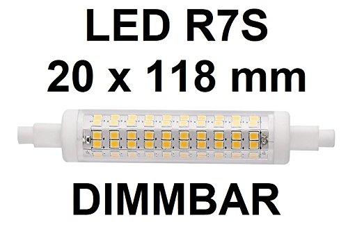 LED Lampe R7S DIMMBAR - 118 mm x 20 mm - 10 Watt - 1200 LUMEN - Warmweiß 2700 Kelvin - 360° Ausstrahlung - entspricht ca. 125 Watt Halogenstablampe. Ideal für Deckenfluter mit Dimmern und Baustrahlern, Arbeitsleuchten mit 118 mm Halogenstablampe