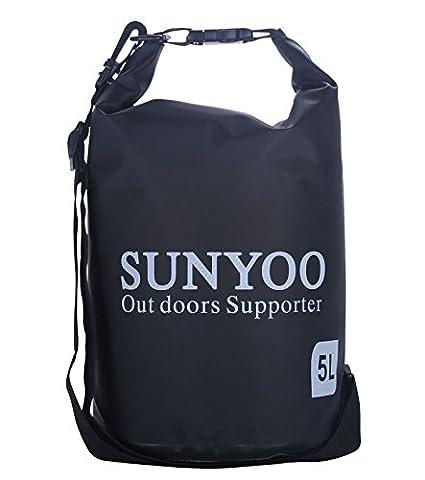 SUNYOO Top Rate 100% Imperméable Sacs secs 5L 10L Sac à sac d'épaule pour la natation,Surfant,Pêche,Nautisme Ski,Canoë-kayak (Noir,