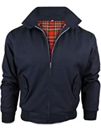 [Navy, X-Large] MENS CASUAL CLASSIC RETRO CHECK LINED HARRINGTON BOMBER JACKET 3 COLOURS S-3XL