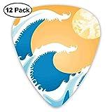 Médiators - Pack de 12, énormes vagues de la mer à l'été Art midi Photo Tropical Ocean Storm Tide, pour guitare électrique basse acoustique