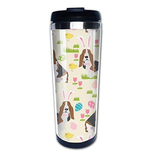 Basset Hound Easter Cute Spring Pastel Dogs Design Cream Multi Insulated Stainless Steel Travel Mug 14 oz Classic Lowball Tumbler with Flip Lid - 14 Oz Commuter Mug