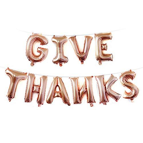 Newin Star Juego Dar Gracias Globo Conjunto de Aluminio Hoja hincha Letter Globos Parte de Acción de Gracias Decorar 16 Pulgadas (de Oro Rosa)