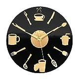 ufengke Reloj de Pared Cocina Diseño de Tenedor Cuchara Taza Reloj Quartz Acrilico Negro DIY para Comedor, Diámetro 30cm
