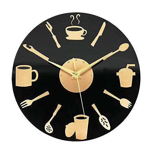 ufengke Reloj de Pared Cocina Diseño de Tenedor Cuchara Taza Reloj Qu