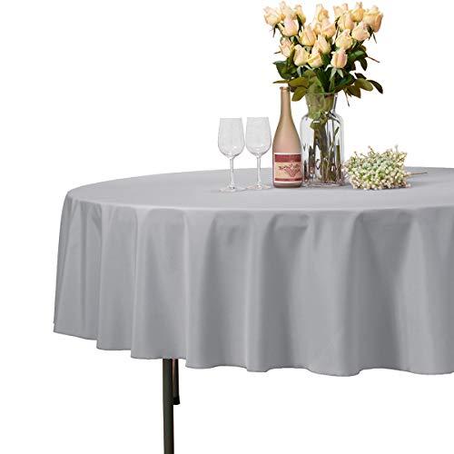 Veeyoo - tovaglia rotonda o quadrata in diverse misure, colore a tinta unita, ottima per apparecchiare la tavola per matrimoni, ristoranti, eventi, tessuto, silver, rotondo-229 cm