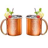 HUAYIN Moscow Mule Mugs Kupfer Becher - 2 Kupfertassen- Gehämmert und Handgefertigt - 450ML Fassungsvermögen - Großartig für jedes gekühlte Getränk (450ML)