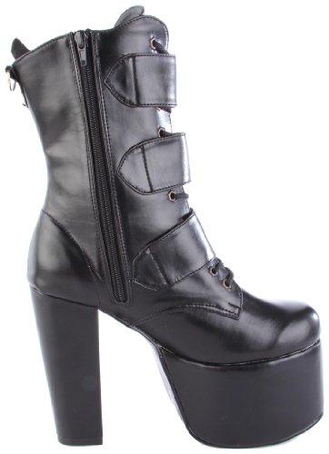 Demonia Torment-703 Stivale Donna Manica Corta Nero (blk Vegan Leather)