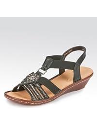 4a0baa22c34e Rieker Damen Sandalen-Pantolette Bogota Stretch, weiches Fußbett, PU-Sohle