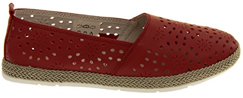 Coolers HD928 Damen Echtes Leder Beiläufige Sommer Schuhe Rot
