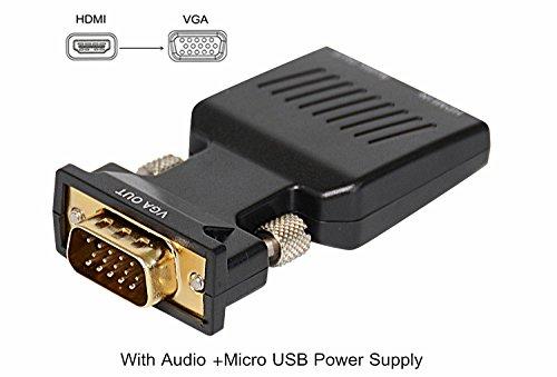 Veetop HDMI VGA Adapter, HDMI auf VGA Konverter, HDMI-Anschluß (in) auf VGA-Stecker (out), intellegente Konvertierung von 720p 1080I 1080p Hochauflösung, mit 3,5 mm Audio-Anschluß und USB Anschluß (Vga-zu-port-dongle)