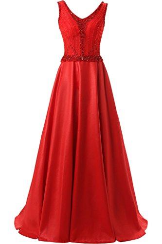 Milano Bride Damen Glitzer V-Ausschnitt Abendkleider Festkleider Partykleider mit Steine Perlenstickerei Lang Rot
