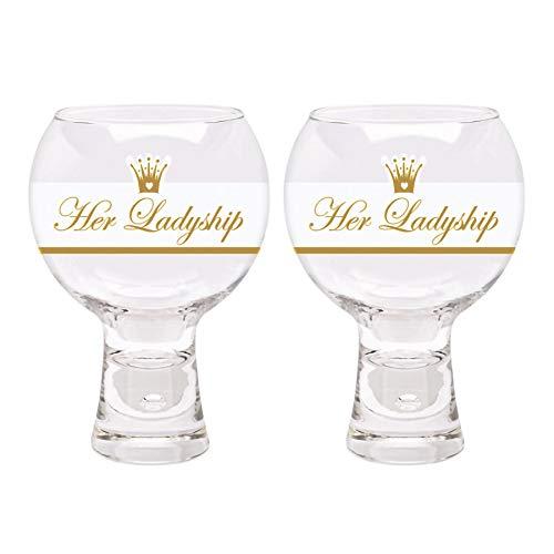 DUROBOR décoré Gin Tonic et Lunettes - Son Ladyship - 540ml - Paquet de 2 Moderne Cocktail vin
