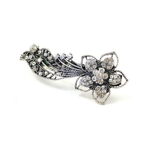 9 cm vintage/argent de style antique Finition effet Strass/cristal clouté Fleur avec Trails Barrette à cheveux/Pince à cheveux