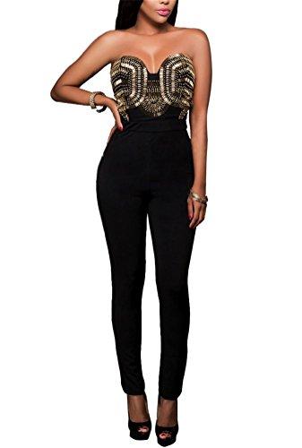 Brinny Vintage Femme Combinaisons Rompers Bustier perlage Slim Fit Zipper Jumpsuits Bodycon Barboteuses Taille S-XL Noir