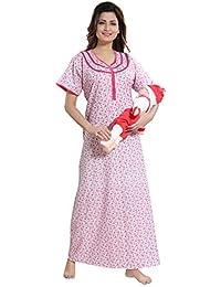 TUFAB Women s Cotton Small Flower Print Long Zip Pattern Nighty Nightwear  Nighties (Multipurpose 9672e3c88