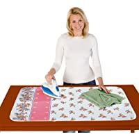 Wenko 1273070500 Blitzbügler®-Zone - Manta de planchar de algodón (acolchado de 4 mm, 100 x 65 cm), color blanco y rosa