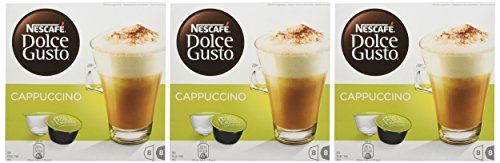 Image of NESCAFÉ DOLCE GUSTO Cappuccino Coffee Pods, 16 capsules (Pack of 3 - Total 48 Capsules, 24 Servings)