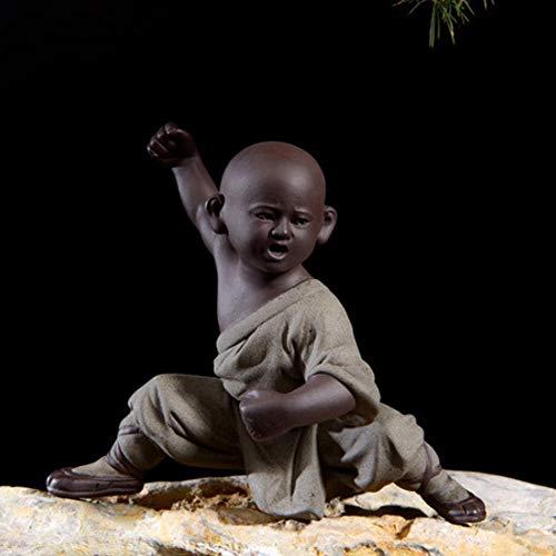 QWERTOUY Kleine mönch skulptur Statue Keramik Dekoration Handwerk chinesischen Stil Tee-Set skulptur Buddha Statue, B