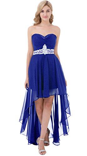 Poplarboy Damen Fashion Traegerlos Cocktailkleid Hi-Lo Chiffon Lang Abendkleider Festkleider Ballkleider Königsblau