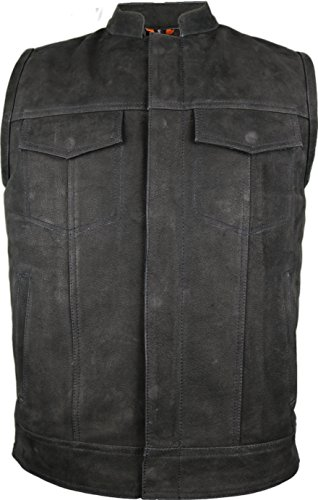 Büffel Biker Lederweste in matt schwarz (M)
