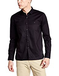 Allen Solly Mens Casual Shirt (8907467420346_ATSF516S02504_Black Solid_40)
