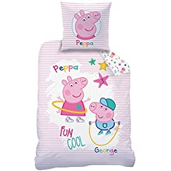 Peppa Pig Juego De Sábanas Franela/Franela para niña · Cama Infantil · Rosa, Blanco · Peppa Pig Fun & Cool · Reversible Cama nórdica · Almohada 80x 80+ 135x 200cm; 100% algodón