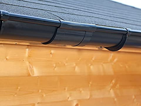 Plastic guttering kit for gabled roof (2 roofsides)   Extra100   in 4 colours! Ideal for summer house or log cabin! (Extension kit 175 cm,