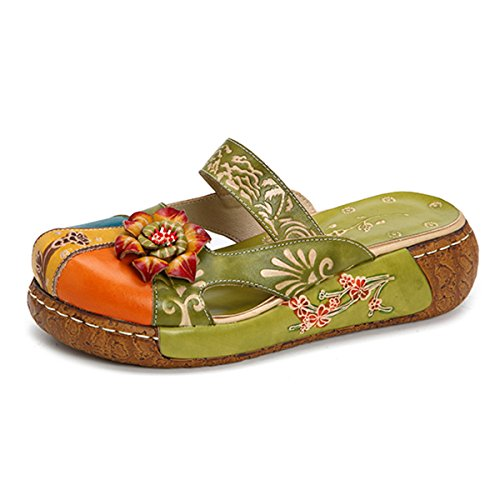 Gracosy Damen Sandalen, Sommer Leder Pantoffel Vintage Slipper Rückenfrei Clogs Bunte Blume Schuhe Weich Komfortabel (Hersteller-Größentabelle IM Bild Beachten)