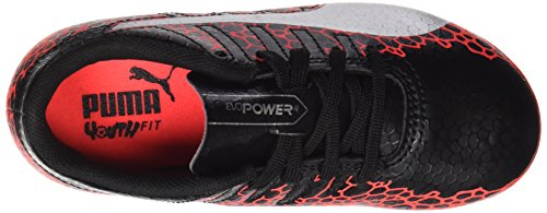 Puma Evopower Vigor 4 Graph AG Jr, Chaussures de Football Mixte enfant Noir (Black-silver-fiery Coral)