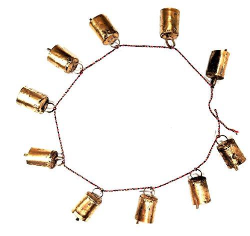 Yapree Glockenschnur aus Eisen, handgefertigt, mit 10 Eisenglöckchen, 89 cm lang, je Glocke 3,8 x 2,5 cm