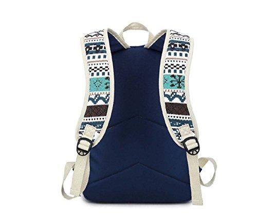 Sacchetto del calcolatore del sacchetto dell'allievo di scuola del vento della nuova di stampa della tela di canapa della borsa del sacchetto di spalla Dark Blue