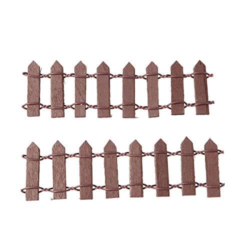 Mini Holz Grenze Lattenzaun Faltbar Garten Ornament für Feengarten Terrarium Puppenhaus DIY Zubehör 10cm (Braun) ()