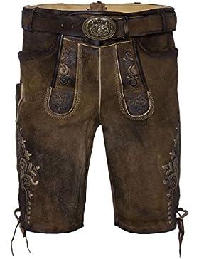 MOSER Trachten Lederhose kurz mit Gürtel braun antik Frieder 001514 von Maddox, Material Leder