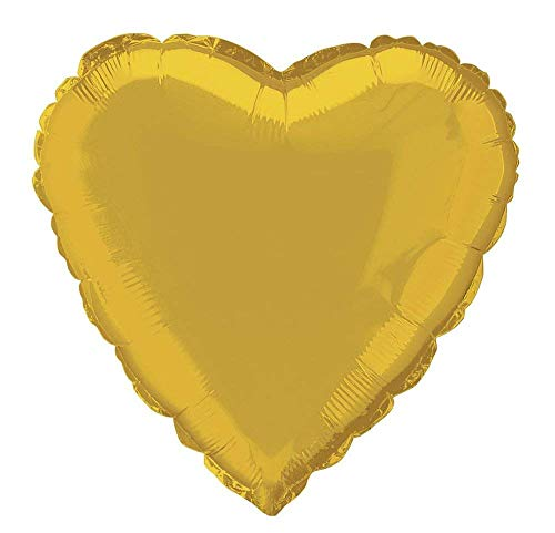 Unique Party Globo foil helio corazón Color oro 45 cm 52951