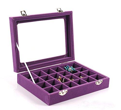 VANCORE(TM 24 Fächer Samt Glas Schmuck Boxen Damen-Schmuckkasten Ringe Ohrringe Halsketten Schmuckständer Schmuckkasten Aufbewahrungsbox lila