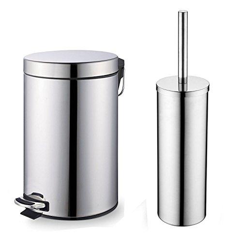 Juego de cubo y cepillo de inodoro cromado, Home Treats Papelera de 3litros con escobilla de baño. 2piezas para baño.