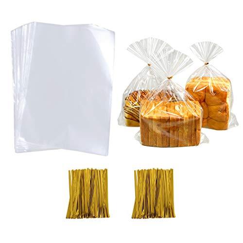 llophantüten Klar Treat Taschen mit 200 Pcs Twist Krawatten für Süßigkeiten Bäckerei Plätzchen Schokolade Hochzeit Partei Geschenk (5,9 x 9,1 Zoll) ()