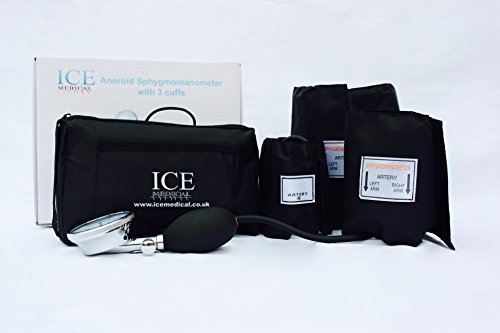 Aneroid-kit (Aneroid Blood Pressure Monitor Kit - Sphygmomanometer 3 cuffs included by ICE Medical)