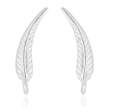 DTPsilver - Boucles d'oreilles Femme en Argent Fin 925 en Forme de Feuille