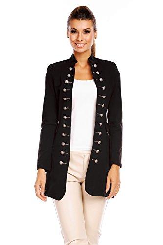 6062 Damen Jacke Blazer Admiral Uniform Mantel mit Military Knopfleiste Schwarz-L (Blazer Mantel Jacke)
