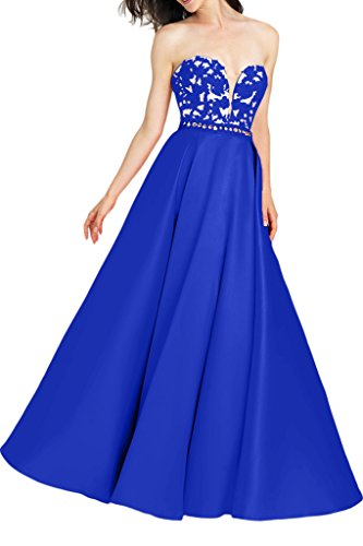 Milano Bride Herrlich Spitze Traegerlos Abendkleid Abiballkleider Applikation Bodenlang Royal Blau