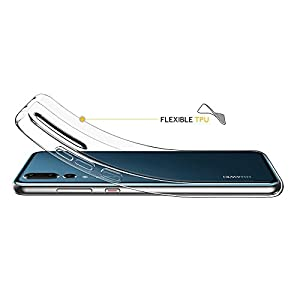 FOSO(™) Clear Flexible Transparent Back Cover Case for Huawei P20 Pro (Transparent TPU)